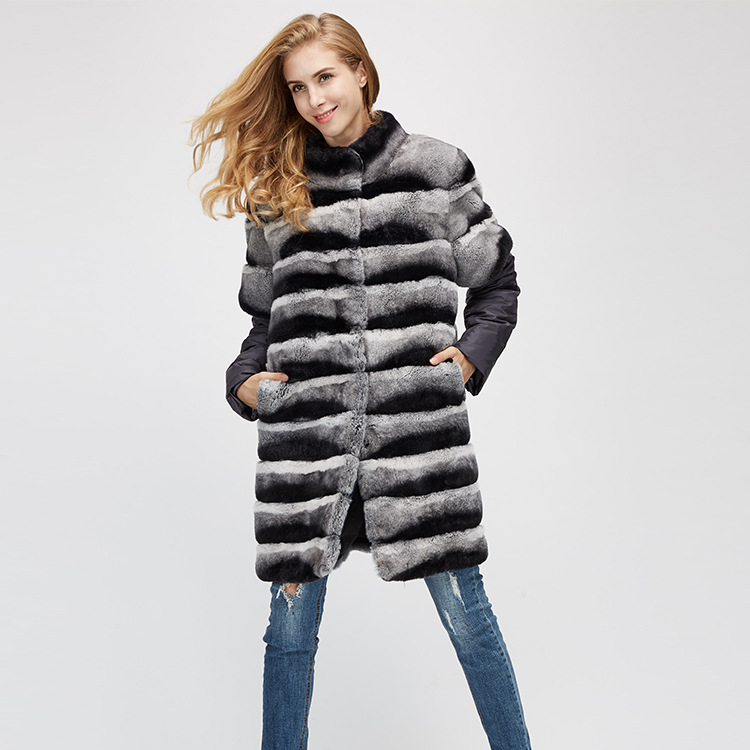 Rex Rabbit Fur Jacket with Detachable Sleeves 954 Details 5