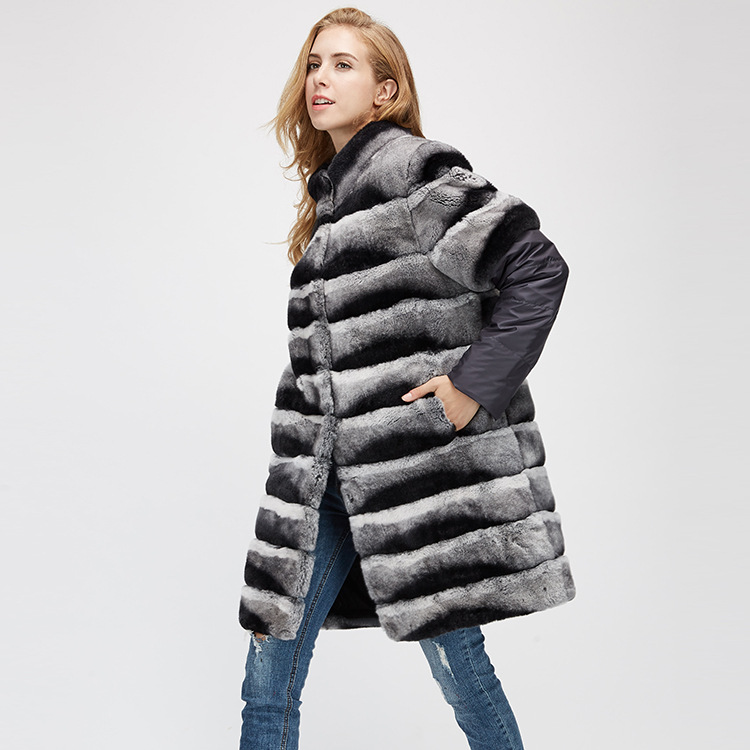 Rex Rabbit Fur Jacket with Detachable Sleeves 954 Details 6
