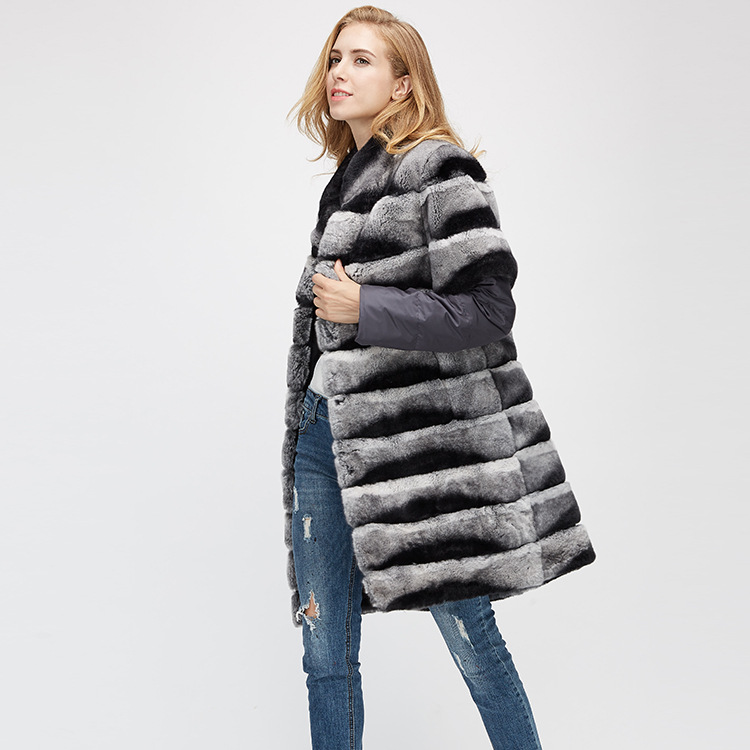 Rex Rabbit Fur Jacket with Detachable Sleeves 954 Details 7