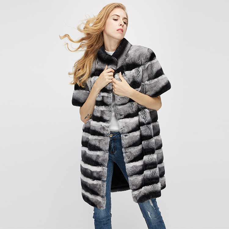 Rex Rabbit Fur Jacket with Detachable Sleeves 954 Details 8