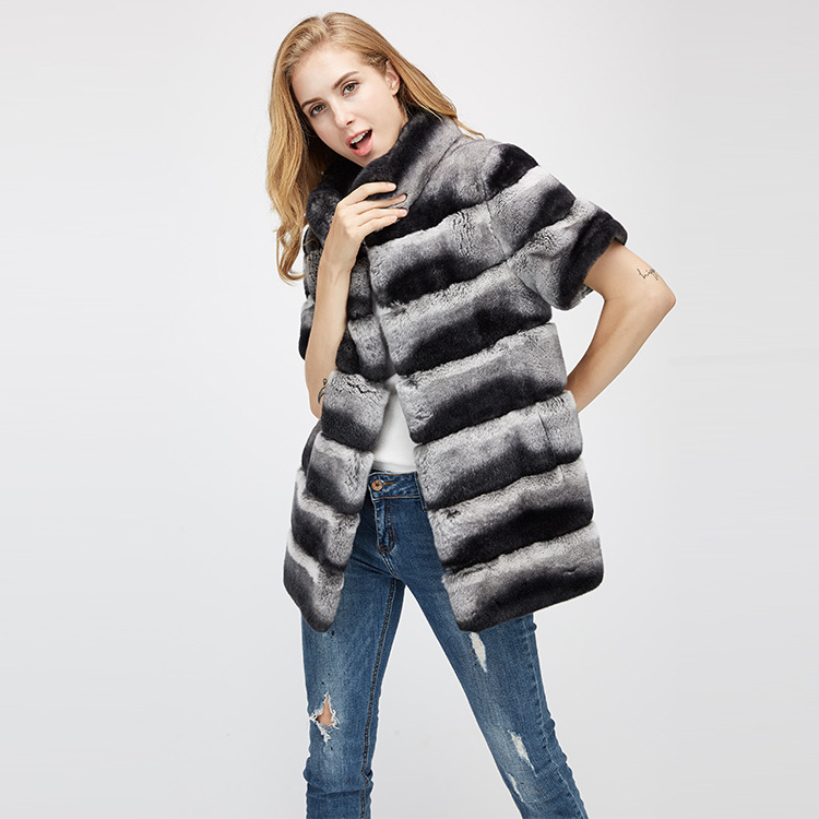 Rex Rabbit Fur Jacket with Detachable Sleeves 955 Details 11