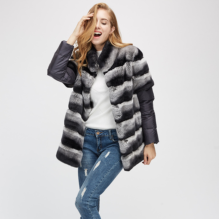 Rex Rabbit Fur Jacket with Detachable Sleeves 955 Details 5
