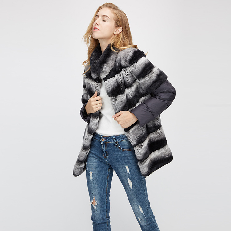 Rex Rabbit Fur Jacket with Detachable Sleeves 955 Details 6