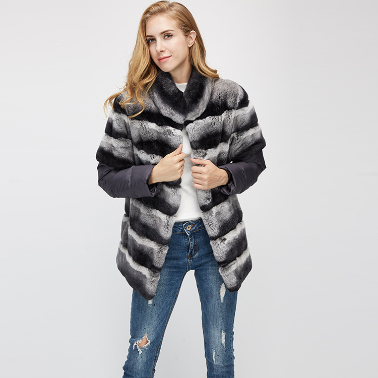 Rex Rabbit Fur Jacket with Detachable Sleeves 955 Details 7