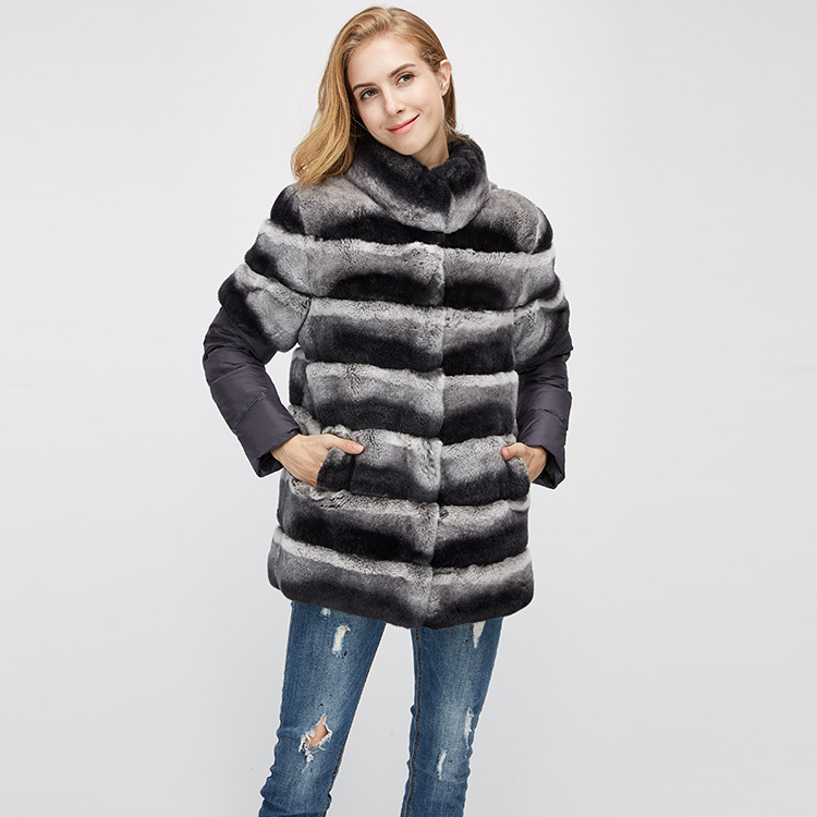 Rex Rabbit Fur Jacket with Detachable Sleeves 955 Details 8