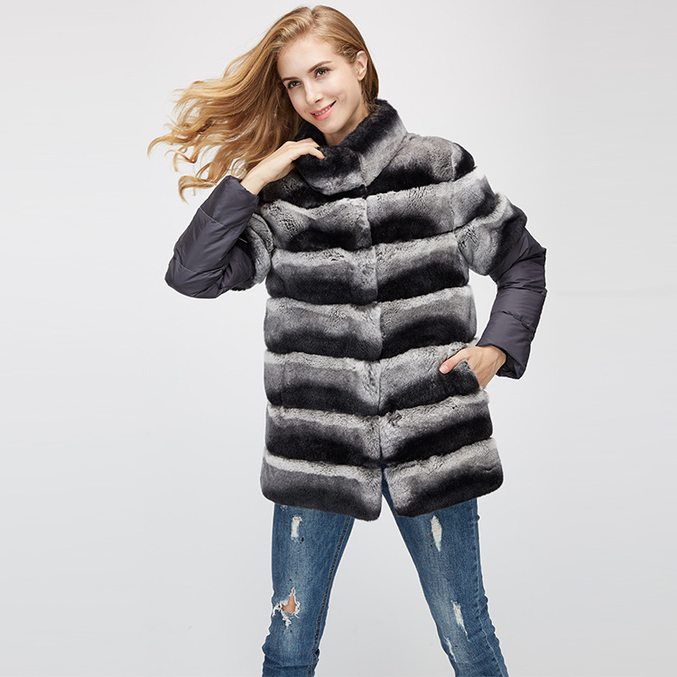 Rex Rabbit Fur Jacket with Detachable Sleeves 955 Details 9