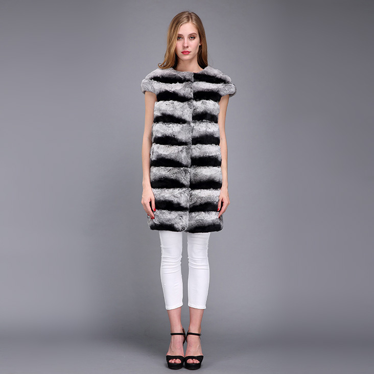 Rex Rabbit Fur Vest with Chinchilla Look 956 Details 1