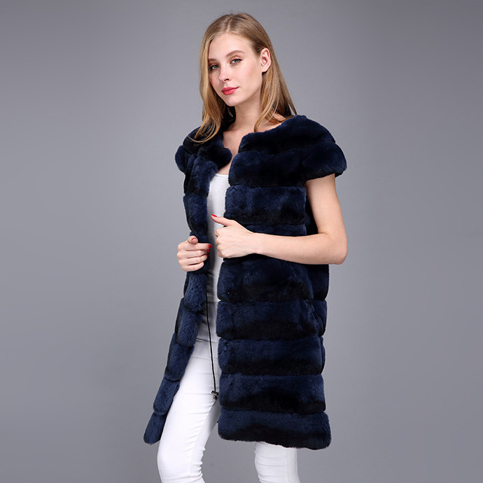 Rex Rabbit Fur Vest with Chinchilla Look 956 Details 10
