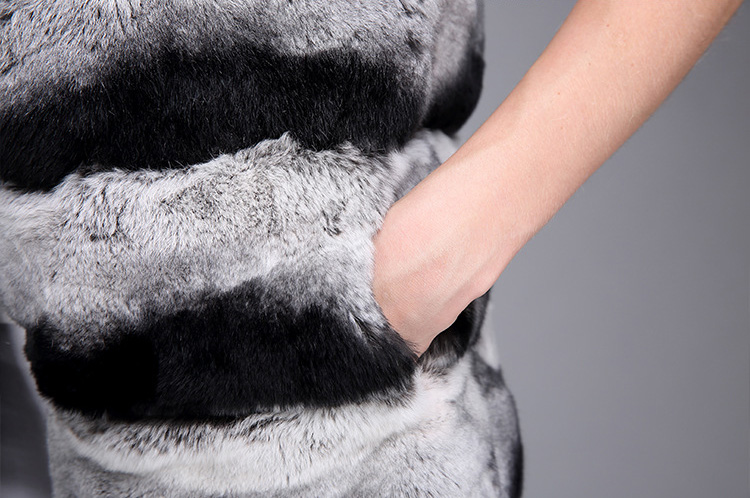 Rex Rabbit Fur Vest with Chinchilla Look 956 Details 13