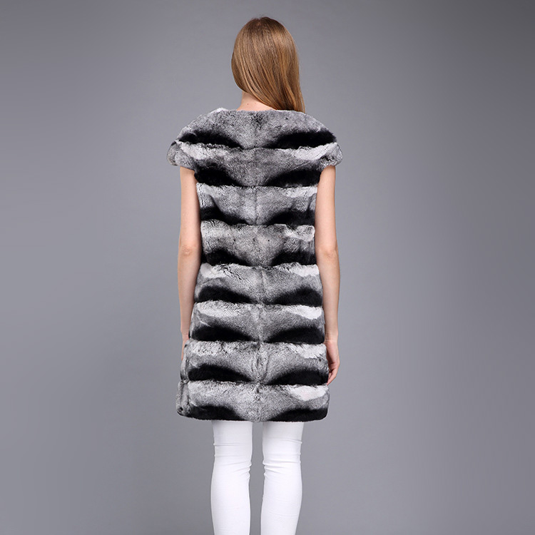 Rex Rabbit Fur Vest with Chinchilla Look 956 Details 2