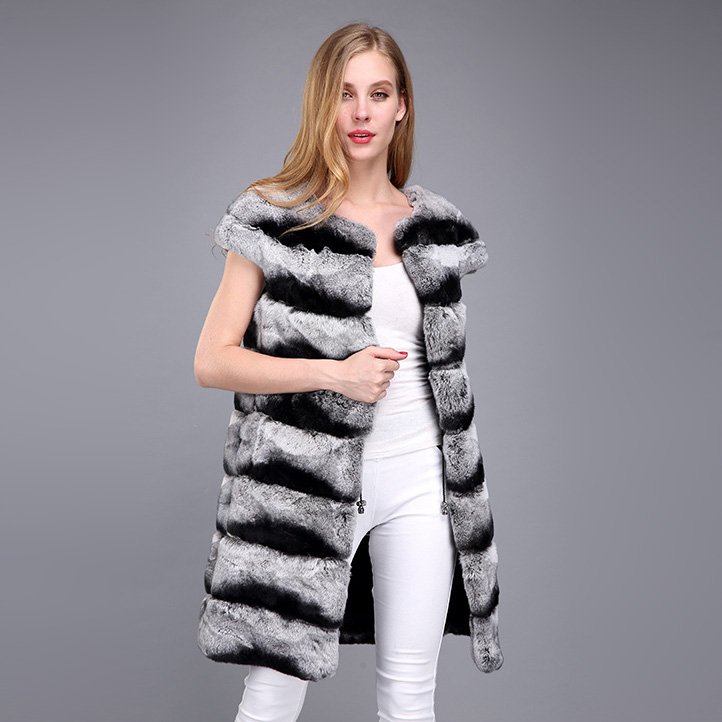 Rex Rabbit Fur Vest with Chinchilla Look 956 Details 4