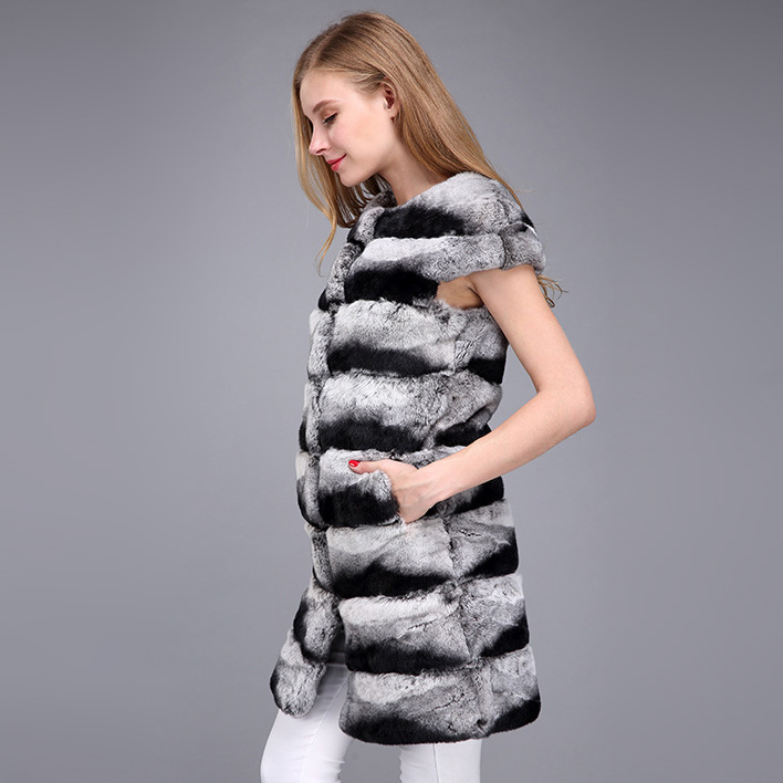 Rex Rabbit Fur Vest with Chinchilla Look 956 Details 5