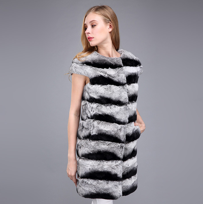 Rex Rabbit Fur Vest with Chinchilla Look 956 Details 6