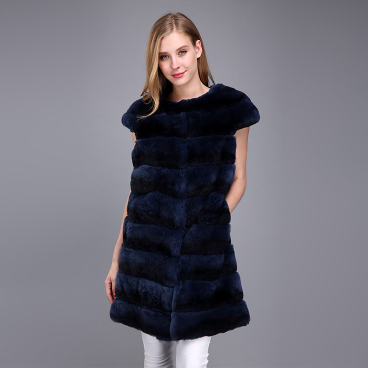 Rex Rabbit Fur Vest with Chinchilla Look 956 Details 7