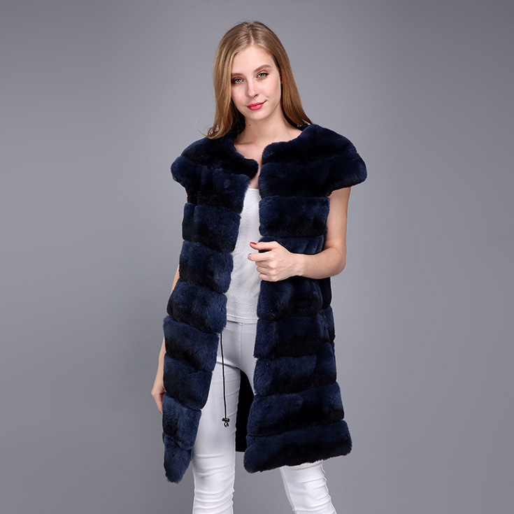 Rex Rabbit Fur Vest with Chinchilla Look 956 Details 8
