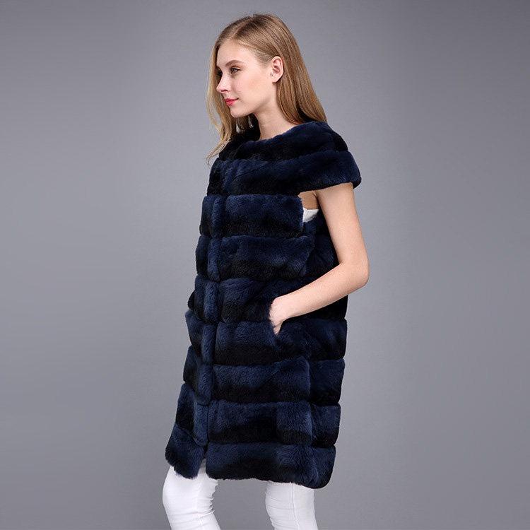 Rex Rabbit Fur Vest with Chinchilla Look 956 Details 9