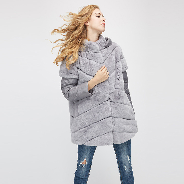 Rex Rabbit Fur Jacket with Detachable Down-filled Sleeves and Hood 959 Details 10