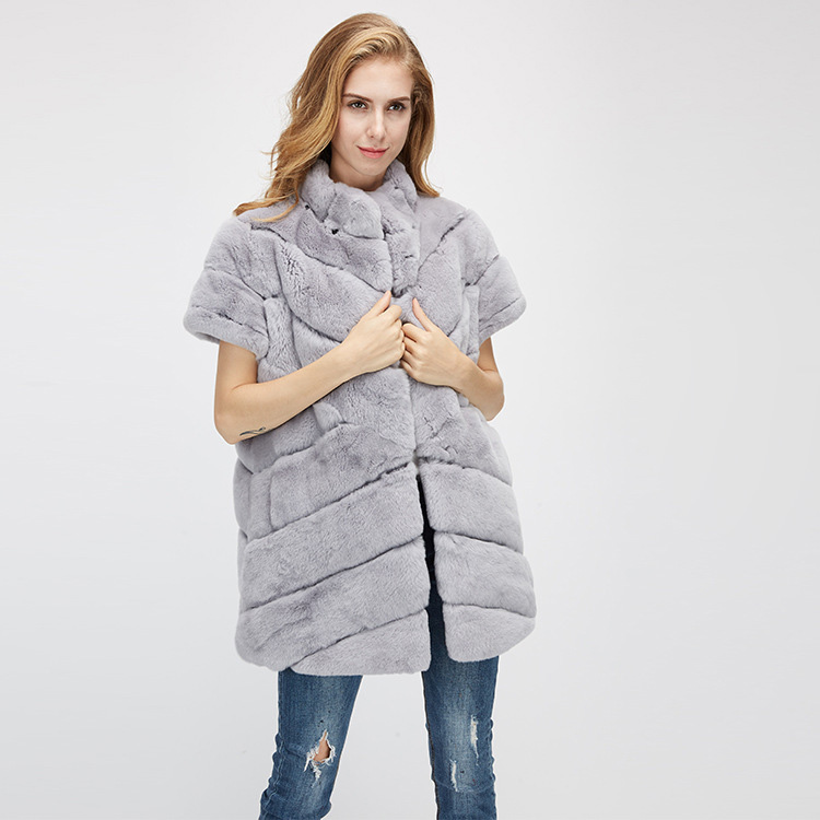 Rex Rabbit Fur Jacket with Detachable Down-filled Sleeves and Hood 959 Details 13