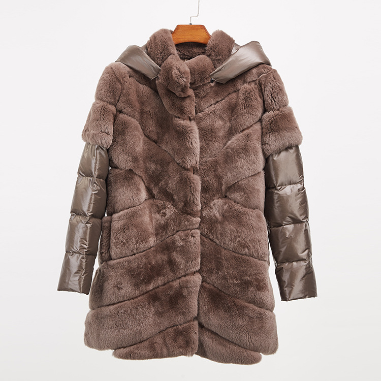 Rex Rabbit Fur Jacket with Detachable Down-filled Sleeves and Hood 959 Details 16
