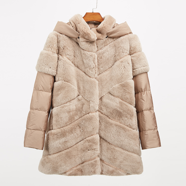 Rex Rabbit Fur Jacket with Detachable Down-filled Sleeves and Hood 959 Details 17