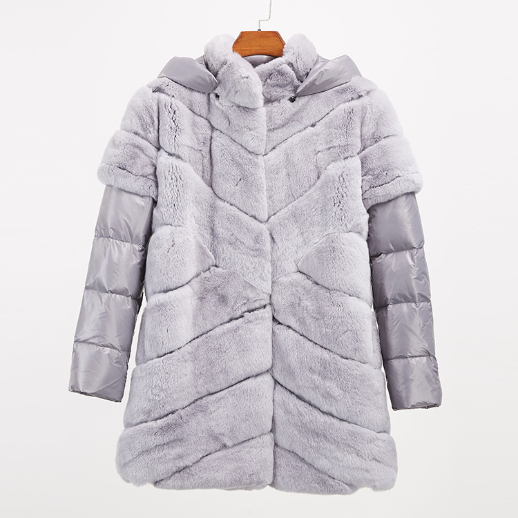 Rex Rabbit Fur Jacket with Detachable Down-filled Sleeves and Hood 959 Details 18