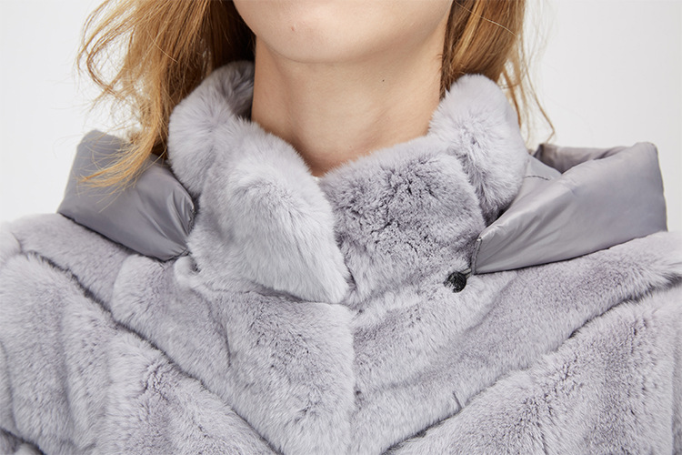 Rex Rabbit Fur Jacket with Detachable Down-filled Sleeves and Hood 959 Details 19