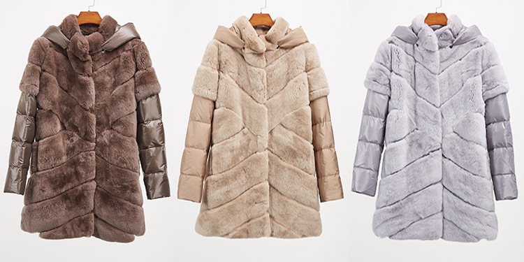 Rex Rabbit Fur Jacket with Detachable Down-filled Sleeves and Hood 959 Details 2