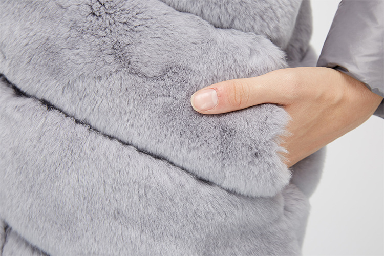 Rex Rabbit Fur Jacket with Detachable Down-filled Sleeves and Hood 959 Details 21