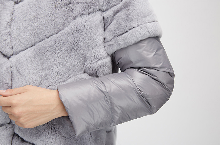 Rex Rabbit Fur Jacket with Detachable Down-filled Sleeves and Hood 959 Details 22