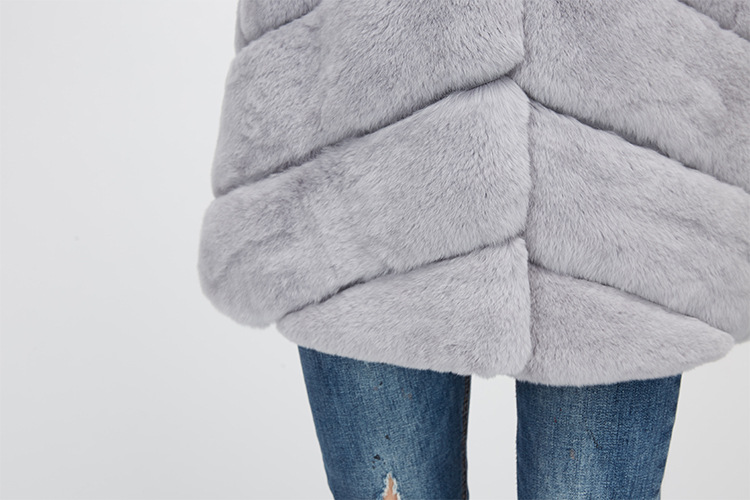 Rex Rabbit Fur Jacket with Detachable Down-filled Sleeves and Hood 959 Details 23