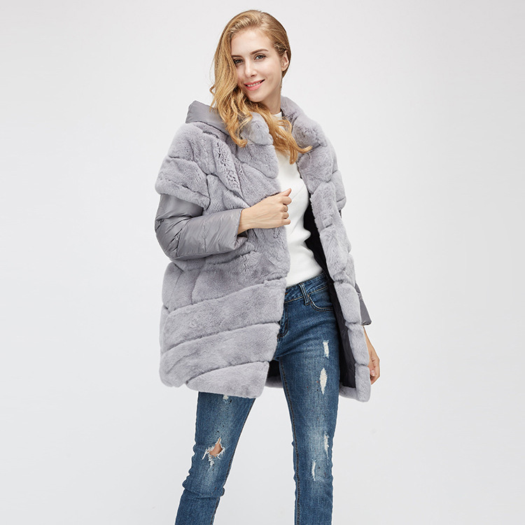 Rex Rabbit Fur Jacket with Detachable Down-filled Sleeves and Hood 959 Details 3
