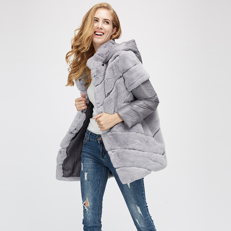 Rex Rabbit Fur Jacket with Detachable Down-filled Sleeves and Hood 959 Details 4