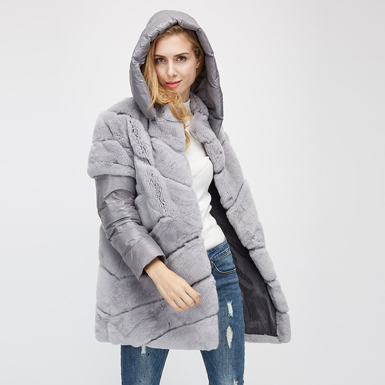 Rex Rabbit Fur Jacket with Detachable Down-filled Sleeves and Hood 959 Details 6