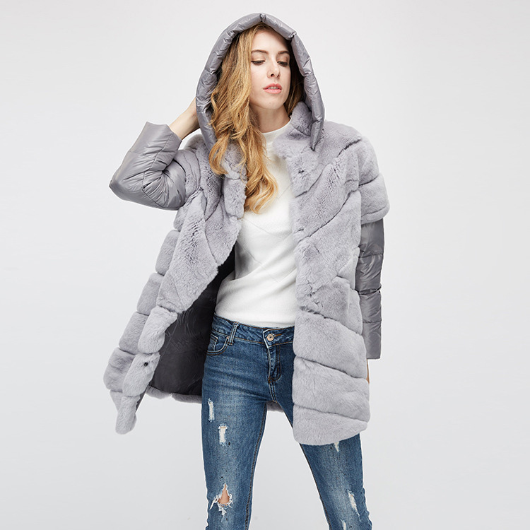 Rex Rabbit Fur Jacket with Detachable Down-filled Sleeves and Hood 959 Details 7
