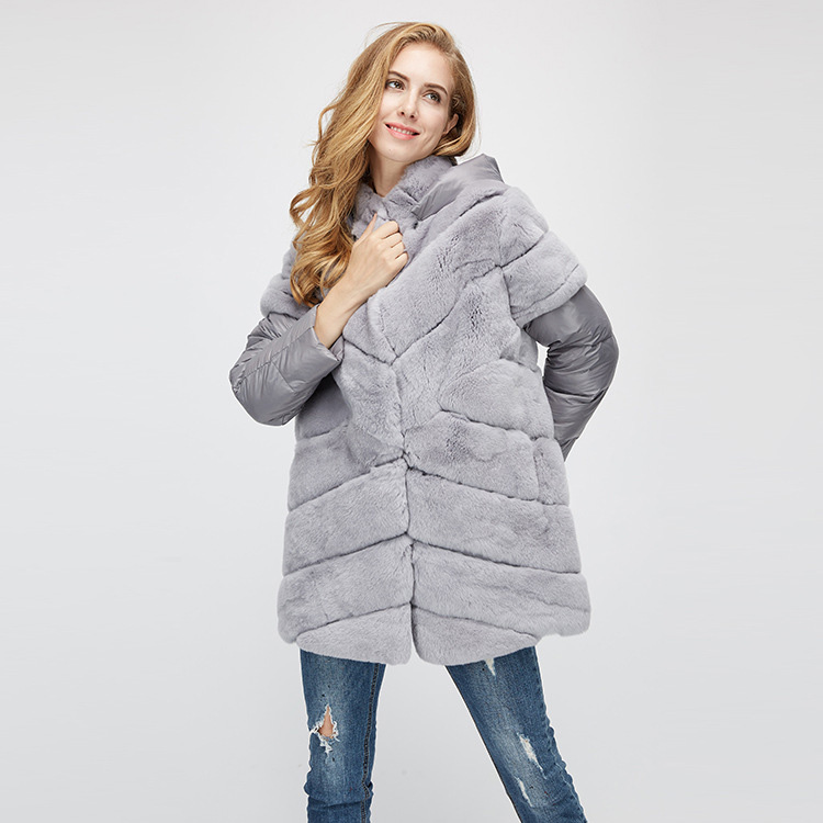Rex Rabbit Fur Jacket with Detachable Down-filled Sleeves and Hood 959 Details 8