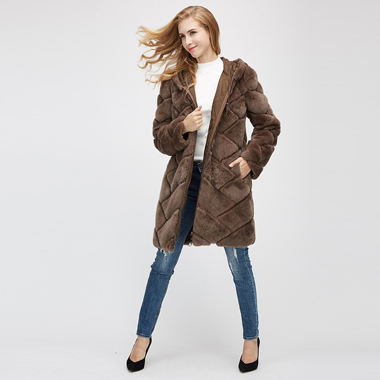 Hooded Reversible Rex Rabbit Fur Jacket with Down Filled 960 Details 1