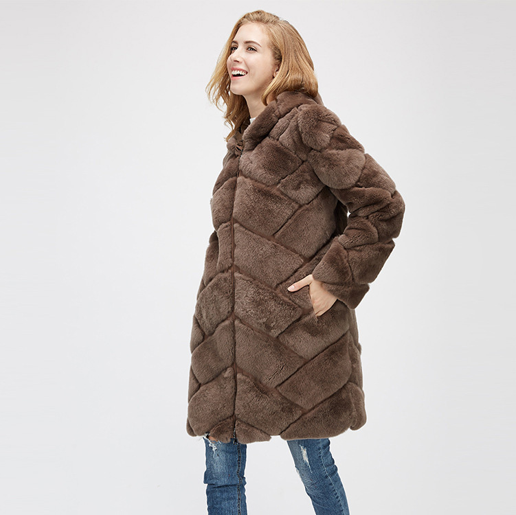 Hooded Reversible Rex Rabbit Fur Jacket with Down Filled 960 Details 10