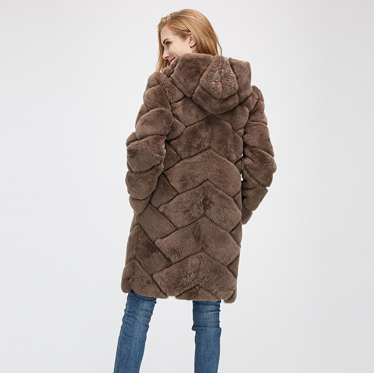 Hooded Reversible Rex Rabbit Fur Jacket with Down Filled 960 Details 11
