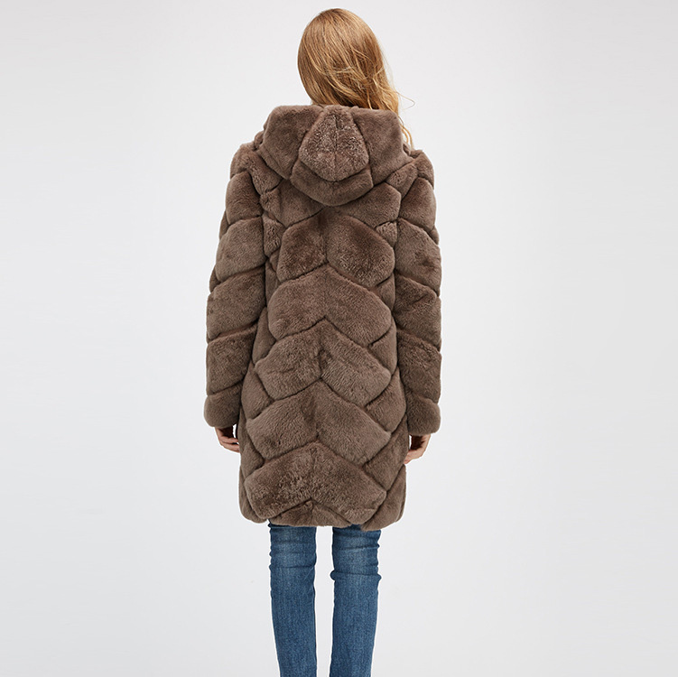 Hooded Reversible Rex Rabbit Fur Jacket with Down Filled 960 Details 12