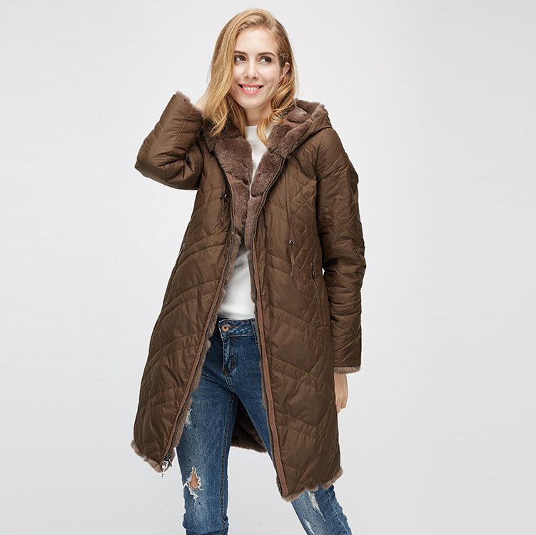 Hooded Reversible Rex Rabbit Fur Jacket with Down Filled 960 Details 13