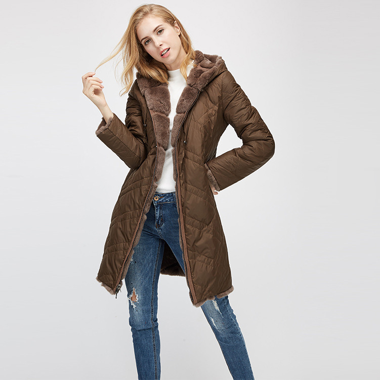 Hooded Reversible Rex Rabbit Fur Jacket with Down Filled 960 Details 15