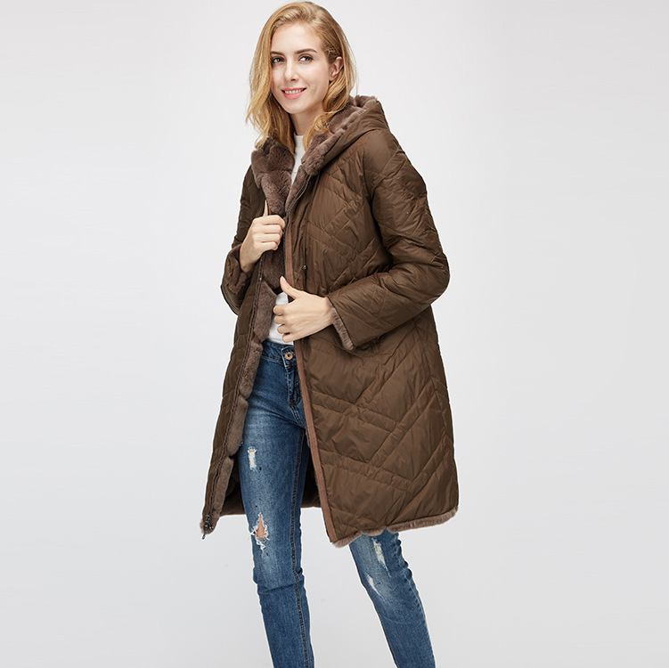 Hooded Reversible Rex Rabbit Fur Jacket with Down Filled 960 Details 16