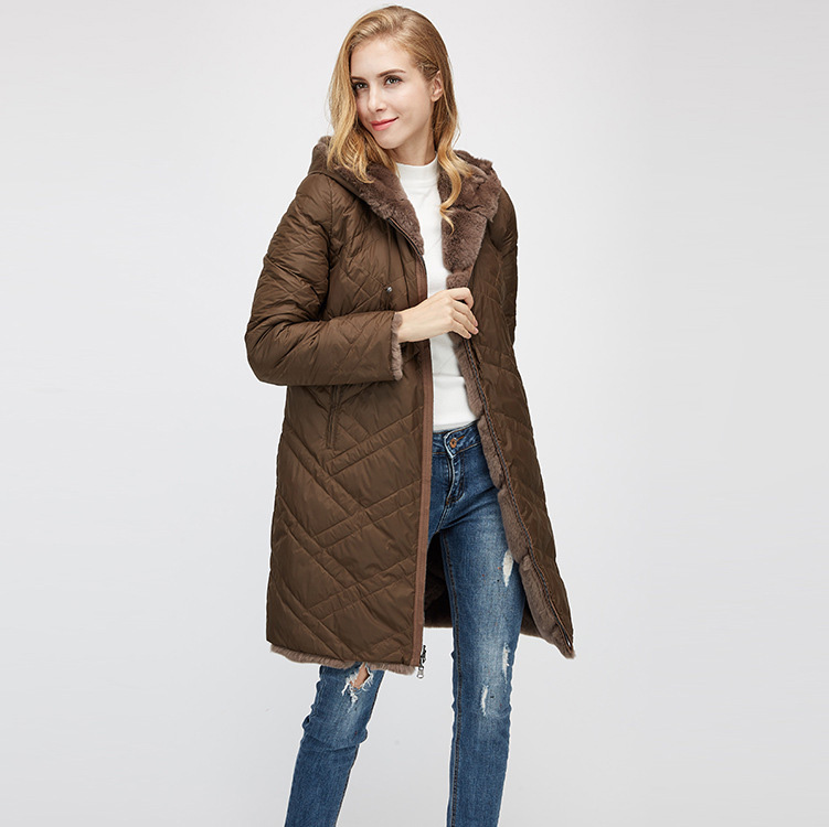Hooded Reversible Rex Rabbit Fur Jacket with Down Filled 960 Details 17