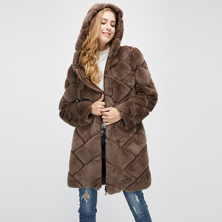 Hooded Reversible Rex Rabbit Fur Jacket with Down Filled 960 Details 18
