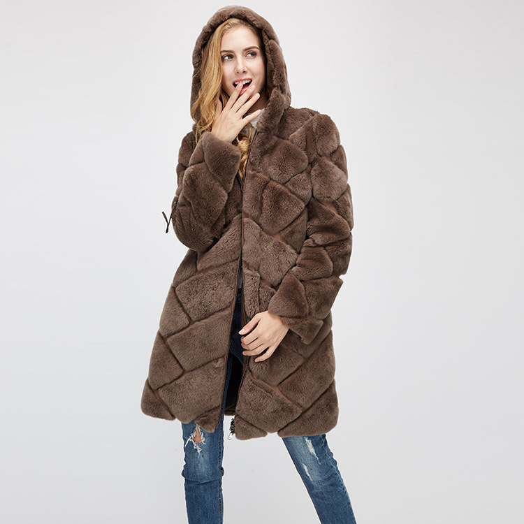 Hooded Reversible Rex Rabbit Fur Jacket with Down Filled 960 Details 19