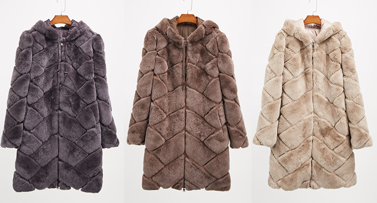 Hooded Reversible Rex Rabbit Fur Jacket with Down Filled 960 Details 2