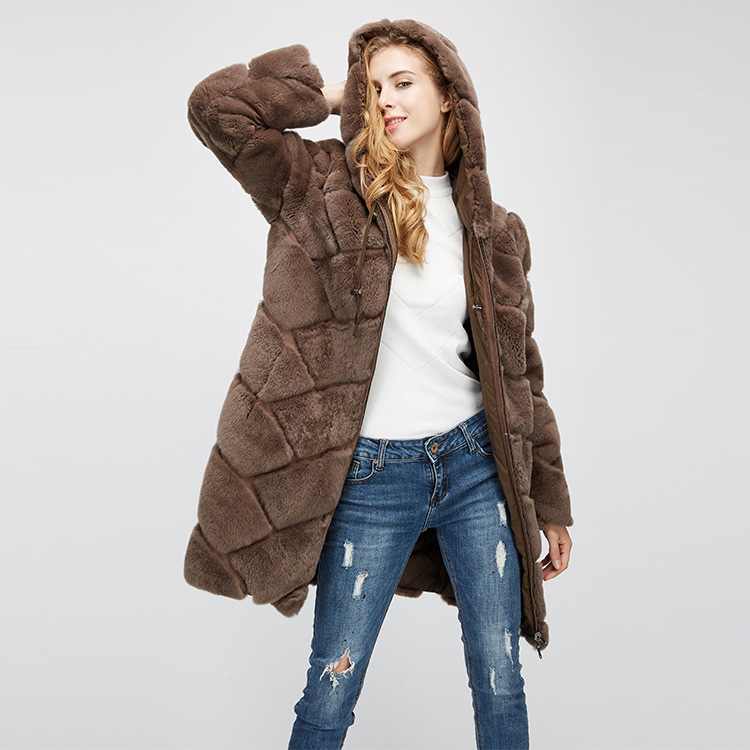 Hooded Reversible Rex Rabbit Fur Jacket with Down Filled 960 Details 20