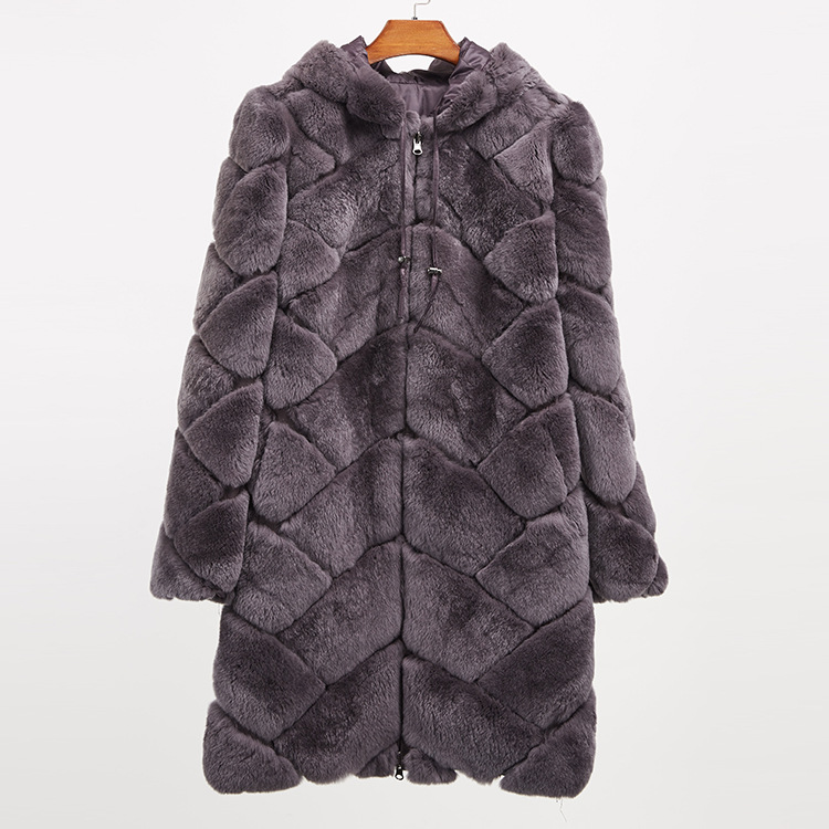 Hooded Reversible Rex Rabbit Fur Jacket with Down Filled 960 Details 21