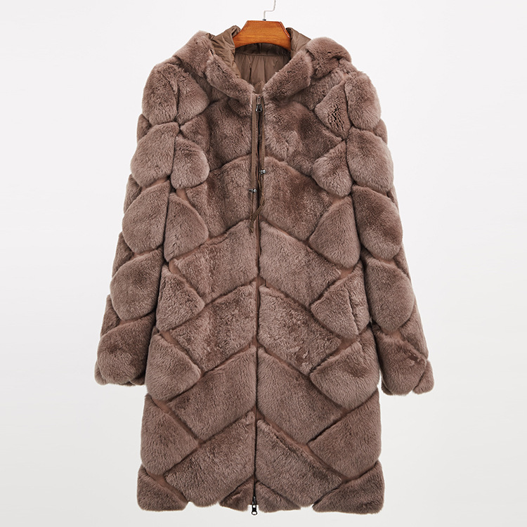 Hooded Reversible Rex Rabbit Fur Jacket with Down Filled 960 Details 22