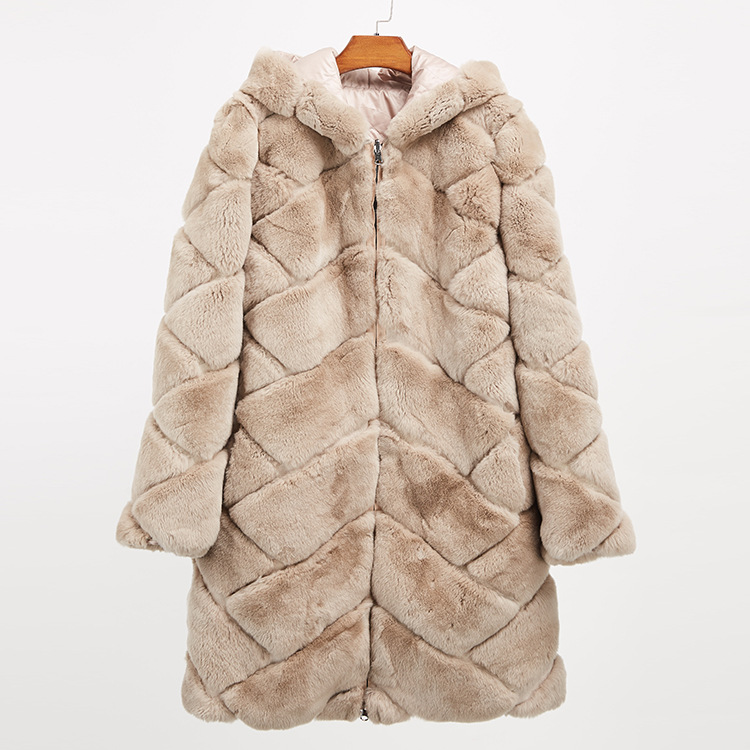 Hooded Reversible Rex Rabbit Fur Jacket with Down Filled 960 Details 23
